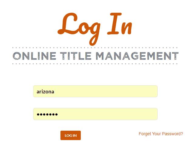 Online Title Management Portal Title Login View